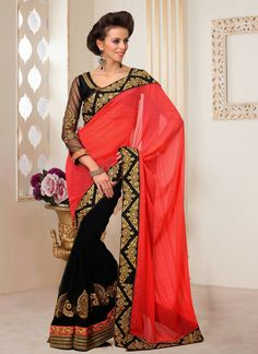 EXOTIC SELLERS!!  Dazzling Black And Red Zari Work Faux Georgette Saree  Product Order link : http://www.usarees.in/sarees/dazzling-black-and-red-zari-work-faux-georgette-saree-2811  ITEM CODE: 2811 Color : Red Black Fabric : Pure Chiffon Work : Patch Border Occasion: Party Wedding Price : Rs 4,060  Call or Whatsapp : +919377152141 SHOP NOW!!