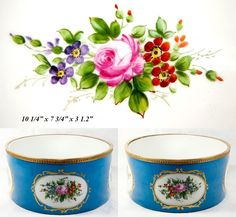 Fine Antique Late 1800s French Jardiniere, Porcelain in Sevres Blue with Flowers, HP