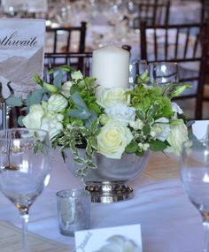 Ramster Hall - tables decorated with silver bowls filled with seasonal flowers