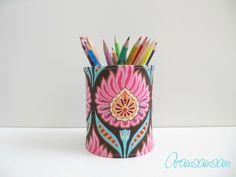 Stiftedose, Geschenkverpackung ★ Pink/Türkis von Aramsamsam auf DaWanda.com