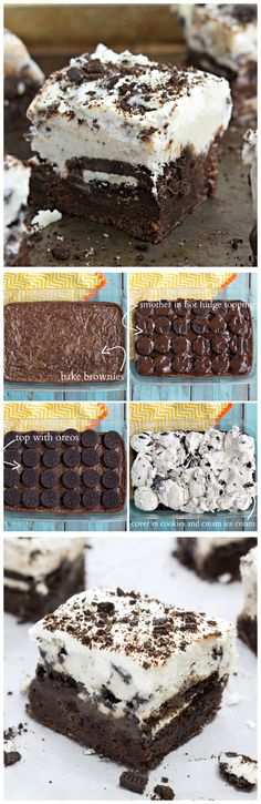 Brownie-bottomed, oreo-topped, hot-fudge smothered, ice cream-covered dessert bars. #dessert #brownie #oreo
