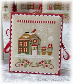 Poinsettia Place (available from Country Cottage Needleworks). Cross Stitch House, Xmas Cross Stitch, Cross Stitch Charts, Cross Stitching, Cross Stitch Embroidery, Embroidery Patterns, Cross Stitch Patterns, Hand Embroidery, Cross Stitch Tutorial