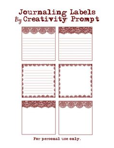 Lace Journal Labels free Printable