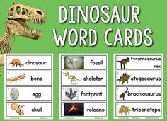 FREE printable dinosaur picture word cards with a link to FREE printable dinosaur letter tile cards, too