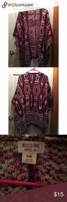 NWT burgundy pattern Mossimo Cardigan Beautiful NWT Mossimo Cardigan. It is a side S/M but looks to run big and comfy. It's the perfect Cardigan as it is short/ quarter length sleeves but also provides some warm. No stains, tears, etc. Mossimo Supply Co. Jackets & Coats