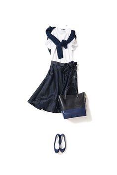 black midi skirt + white T, black sweater, flats