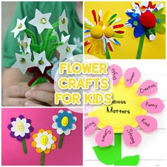 It's time to get crafty! Spring and summer are the perfect seasons for making Flower Crafts. Not only are they bright and colourful, but many of these flower crafts make wonderful kid-made gifts for Mom, Grandma, friends, and anyone who could do with a bit of cheering up. Cute Kids Crafts, Craft Activities For Kids, Craft Stick Crafts, Crafts To Make, Activity Ideas, Preschool Activities, Craft Ideas, Paper Flowers For Kids, Paper Flower Wreaths