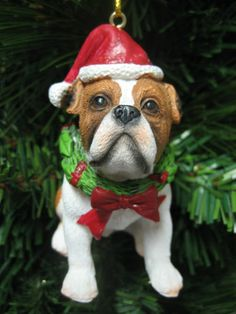 New Bulldog Christmas Tree Ornament Puppy Dog Holiday Stocking Stuffer Pet Gift
