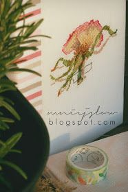 """""""La maison de nanie"""" Mon journal au point de croix - Véronique Enginger cross stitch, haft krzyżykowy, handmade, , notebook covers, okładki na zeszyty, robótki ręczne, rose, róża"""