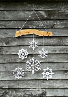 Elegant Christmas decoration - snowflakes mobile - holiday decor - crochet snowflake and wood ornament for cozy home Noel Christmas, All Things Christmas, Winter Christmas, Xmas, Christmas Ornaments, Christmas Snowflakes, Snowflake Ornaments, Handmade Christmas, Christmas Thoughts