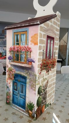 Good idea to paint the shed. Wall Painting Decor, House Painting, Painting On Wood, Miniature Houses, Miniature Dolls, Crafts To Make, Diy Crafts, Bird Houses Painted, Doll Painting