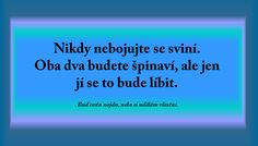Nikdy nebojujte se sviní, ... My Journal, Just Smile, Motto, Sarcasm, Karma, No Worries, Quotations, Mindfulness, Positivity