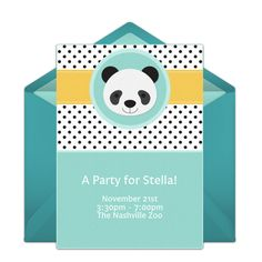 Free birthday party invitation with a cute panda design. Love this design for an animal themed birthday party.
