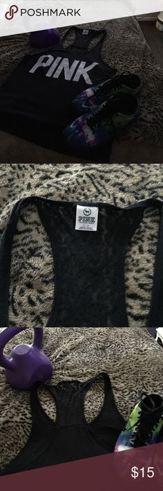 Pink Victoria Secret Black Tank top with some black lace on back. Pink written across the front in white. Gently used great condition. T-shirt only size Medium PINK Victoria's Secret Tops Tank Tops