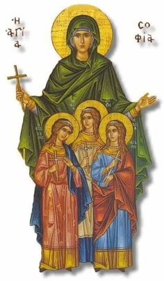 Orthodox icon of Saint Sophia with her Daughters Faith (Piste), Love (Agape) and Hope (Elpida) Commemorated September Religious Images, Religious Icons, Religious Art, Greek Icons, Paint Icon, Byzantine Icons, Medieval Manuscript, Catholic Art, Faith In Love