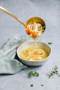 Warm and comforting this chicken noodle soup freezer meal is a classic. Rich stock, chicken, vegetables, and noodles come together for a quick and easy meal. With tips to make this a freezer meal, having a homemade dinner on hand has never been easier. via happymoneysaver #freezermeal #easydinner #chickennoodlesoup #chickensoup #quickmeal #weeknightdinner #chicken #hearty