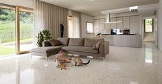 Polished Terrazzo Floors for Modern Living Room