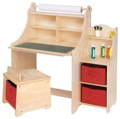 "A fully self-contained art center with storage stool. Adult assembly required. Ages 3+. Three bins, 9""W x 11""D x 7""H each. Desk is 36""W x 24""D x 39""H.Features"