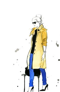 Watercolor and Pen Fashion Illustration - The Trench Coat print. $25.00, via Etsy.
