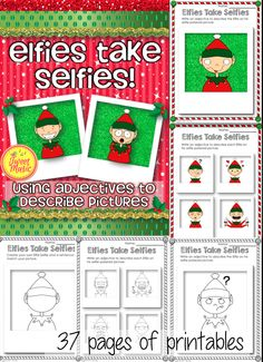 """Did you know the elves like to take selfies too? In this delightful activity students will be able to color an """"Elfie Selfie"""" and review their understanding of adjectives by labeling their polaroid """"Elfie Selfie"""" pictures. A variety of worksheets have been provided to cover a diverse range of abilities and depending on your students understanding of adjectives. Also included is a blank """"Elfie Selfie"""" template where students can draw their own elf faces. $"""