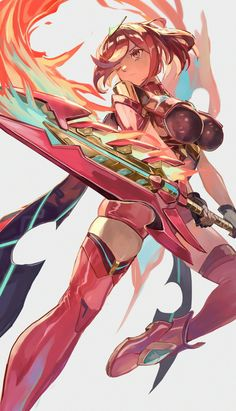 Xenoblade 2 Pyra I don't know the artist what do that, but, it's amazing 😍 Fantasy Characters, Female Characters, Anime Characters, Female Character Design, Game Character, Xeno Series, Xenoblade Chronicles 2, Video Games Girls, 3d Fantasy