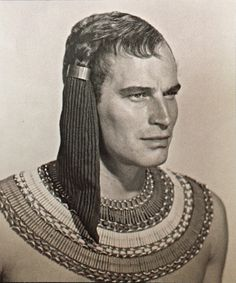 Make up test for Heston as Moses the Prince of Egypt.