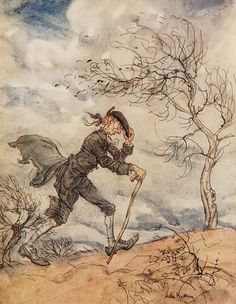 Arthur Rackham's illustration of Ichabod Crane for The Legend of Sleepy Hollow (1928).