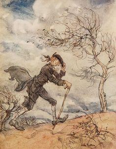 Arthur Rackham's illustration of Ichabod Crane for The Legend of Sleepy Hollow (1928).