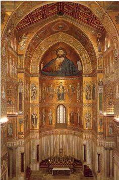 ECHOES OF BYZANTIUM: Mosaics in the apse of the Cathedral of Monreale - Sicily.  The mosaics were imported from Constantinople.