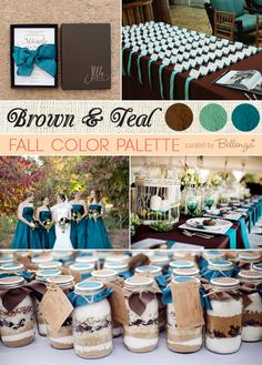 Teal and brown fall wedding with chocolate brown invitations in a box, a gorgeous tablesetting with birdcages, and teal bridesmaids' dresses...  #fallweddings #tealweddings #fallcolorpalettes #fallweddingcolors