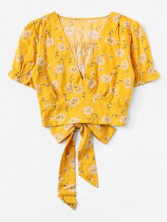 Dandelion Print Knot Back Blouse Sari Blouse Designs, Blouse Patterns, Blouse Styles, Crop Top Outfits, Casual Fall Outfits, Cute Outfits, Modest Fashion, Fashion Outfits, Cute Blouses