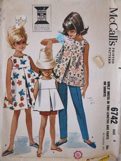 Vintage 1963 McCalls Child Girl  Empire Waist Front Inverted Pleat Dress Top & Pants or Shorts Sewing 6742 Pattern Size 8