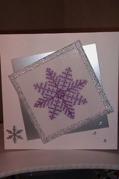 Cross stitch snowflake card