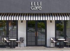 ELLE café|エル カフェ Signage Design, Cafe Design, Store Design, Cafe Japan, Small Flower Bouquet, Cafe Exterior, Stationary Shop, Restaurant Interior Design, Deli