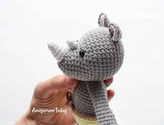This Cuddle Me Rhino amigurumi dressed in sunny pants is the ideal friend for your little one! Crochet him today with our Cuddle Me Rhino Amigurumi Pattern! Cute Crochet, Crochet Yarn, Crochet Toys, Crochet Crafts, Crochet Ideas, Sewing Crafts, Sewing Projects, Sewing Toys, Crochet Patterns Amigurumi