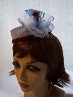 Mini Pillbox in Navy with Ribbon and Feathers