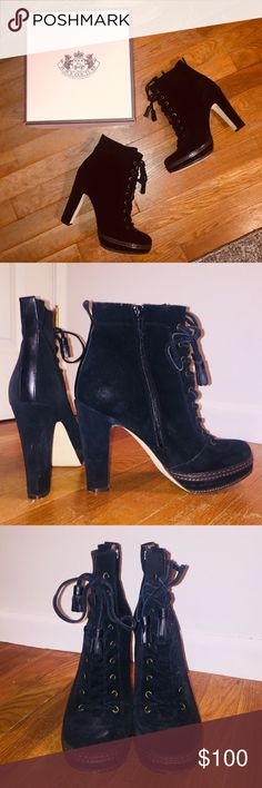 Juicy Couture 'Madras' Boot Chic, edgy suede ankle boot with platform and lace-up front. Only worn twice, very good condition. The most visible signs of wear are on the soles. There are light scuffs on the suede where the shoes rubbed together while walking, but these are enhanced by the flash and much less noticeable in person. A suede cleaning after extended wear would make these look new again. Super comfortable and cute with skinny jeans and a chunky sweater for fall. Run slightly tight…