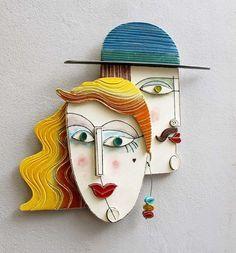 Small Ceramic Wall Sculptures Wall - Small Compositions An . Ceramic Mask, Ceramic Wall Art, Ceramic Clay, Ceramic Pottery, Sculptures Céramiques, Art Sculpture, Sculpture Ideas, Ceramic Sculptures, Cerámica Ideas
