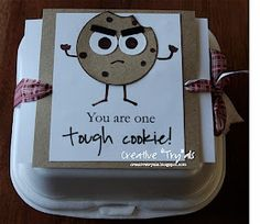 """Creative """"Try""""als: One Tough Cookie - Get Well/Encouragement Gift Creative """"Try"""" als: Ein harter Keks - Gute Besserung / . Homemade Gifts, Homemade Cards, Real Homemade, Homemade Cookies, Get Well Baskets, Surgery Gift, Get Well Soon Gifts, Little Presents, Encouragement Gift"""