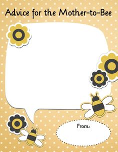 Advice for the Mother-to-Bee. Free Printable card for baby showers!