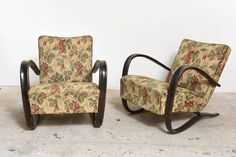 Pair of Art Deco Lounge Chairs Designed by Jindrich Halabala 2