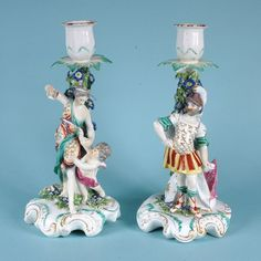 18th century Derby porcelain candlestick figures of Mars & Venus, standing on mounded bases.  Circa: 1765, England  Height: 26.50cm (10.43 inches)