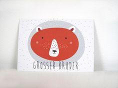 P010 Bär grosser Bruder Postkarte für den grossen Bruder im Din A6 Format aus hochwertigem Recyclingpapier.  1,50 € inkl. MwSt., zzgl. Versandkosten