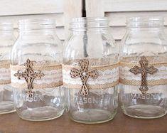 Baptism Centerpiece Mason Jar Wraps, rustic baptism centerpiece, baptism decor, baptism table decoration, rustic communion decorations