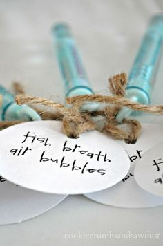 [Swell Times pool party] I love this party favor idea. The handwritten tags are such a nice touch. via Cookie Crumbs & Sawdust Little Mermaid Birthday, Little Mermaid Parties, Pool Party Favors, Shower Favors, Shower Invitations, Gone Fishing Party, Fishing Party Games, Fishing Wedding, Lake Party