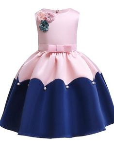 Kids / Toddler Girls' Vintage / Sweet Party / Holiday Patchwork Bow Sleeveless K… Kids / Toddler Girls' Vintage / Sweet Party / Holiday Patchwork Bow Sleeveless Knee-length Dress Pink – Baby Girl Party Dresses, Toddler Girl Dresses, Little Girl Dresses, Girls Dresses, Toddler Girls, Easter Dresses For Girls, Baby Girls, Dresses Dresses, Sweet Girls