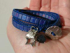 Gorgeous cobalt blue wrap bracelet. Friendship Yoga, Yoga Mala, Wrap Bracelets, Handmade Jewellery, Lampwork Beads, Cobalt Blue, Wallet, Leather, Jewelry