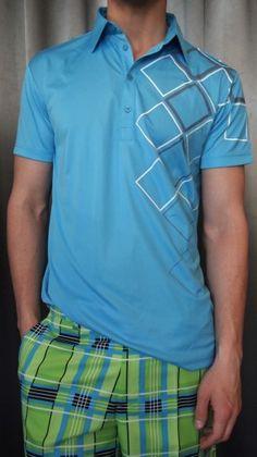Sligo patterned blue golf shirt $85 from Gotstyle Menswear.