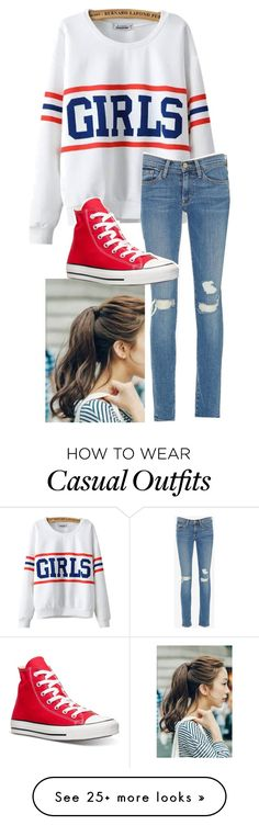 """Casual day"" by hopeyjay on Polyvore featuring Marlangrouge, Chicnova Fashion, Frame Denim and Converse"