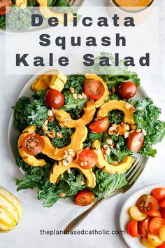 Delicata Squash Kale Salad is simple, yet flavorful. Drizzle on an oil-free Maple Miso Dressing for a delicious, seasonal salad. #salad #delicatasquash #squashrecipes #fallsaladrecipes #veganfallsalad #plantbasedfallsalad #meatlessmonday #meatless #meatlessmeals #nomeat #vegan #glutenfree #oilfree #sugarfree #plantbased #oilfreevegan #sugarfreevegan #glutenfreevegan #wfpb #forksoverknives #catholic #catholiclife #theplantbasedcatholic